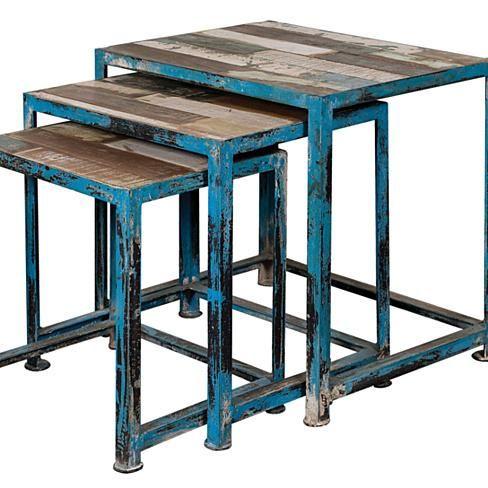 Blue Framed Reclaimed Wood Nesting Tables (Set of 3)