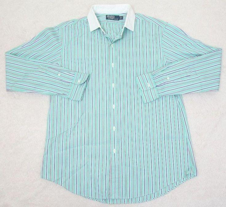 Ralph Lauren Polo Dress Shirt Green White Large Cotton Striped Mens Man Blue Red #RalphLauren #dressshirt