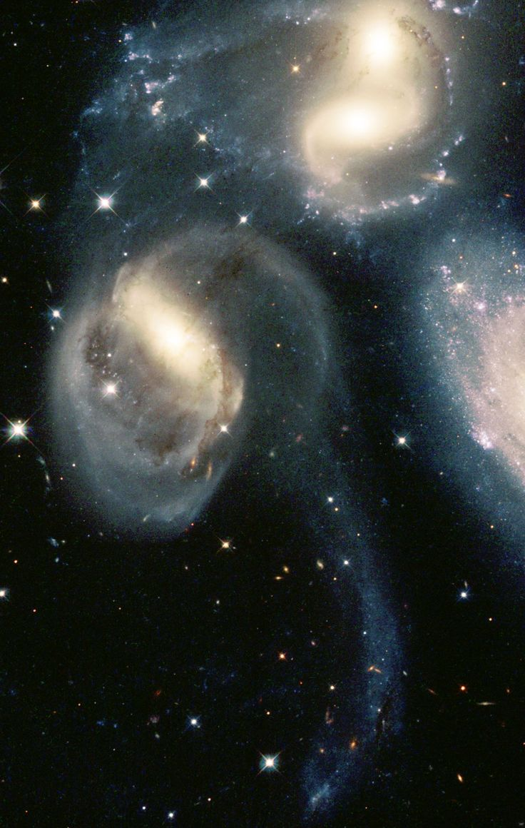 """Group Of Galaxies Called """"Stephan's Quintet"""" (Favored Object For Amateur Astronomers With Good Hobby Telescopes). The Quintet Is A Prototype Of A Class Of Objects Known As 'Compact Groups Of Galaxies' - NASA/ESA Hubble Space Telescope"""