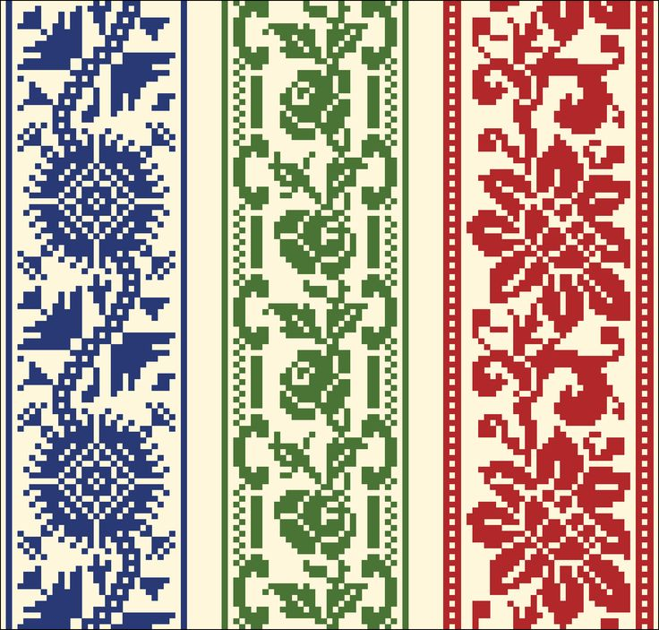 Three borders | Chart for cross stitch or filet crochet