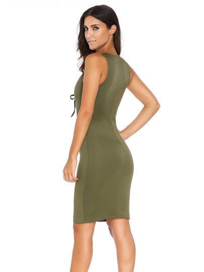 Vestido con cordones abertura entallado - verde militar-Spanish SheIn(Sheinside) Sitio Móvil