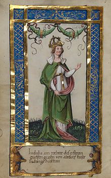 Queen Judith (795/797 or 805 – 19 April 843), also known as Judith of Bavaria, was the daughter of Count Welf and Saxon noblewoman, Hedwig, Duchess of Bavaria (780–826). She was the second wife of King Louis the Pious, which garnered her the title of Empress of the Franks. Indeed, this marriage to Louis marks the beginning of her rise as an influential figure in the Carolingian court.