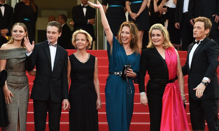 Standing Tall … Sara Forestier, Rod Paradot, Frederique Bredin, Emmanuelle Bercot, Catherine Deneuve and Benoit Magimel, the director and stars of the opening night film