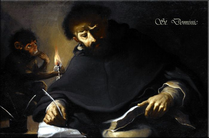St. Dominic and the Devil by Pietro della Vecchia: The story of the Devil's appearance to St. Dominic in the form of a monkey derives from a medieval legend, according to which the saint seized his tormentor and forced him to hold a lighted candle while he studied. St. Dominic released him only after the candle burned down and singed his fingers.
