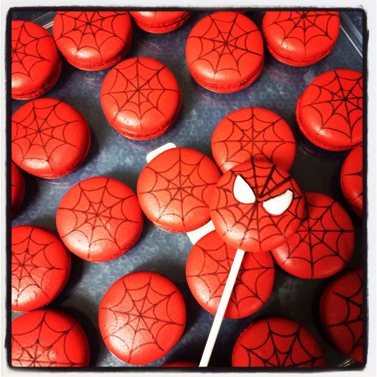 Spider-Man macaron pop with spider web Macarons by Arelio Sweetbox