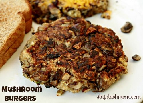 The BEST Mushroom Burger Recipe EVER: mushrooms, garlic, oats, shredded parmesan, breadcrumbs, eggs