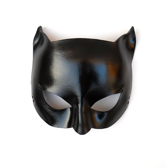 Glossy Black Catwoman Leather Mask Super Hero Sexy by LMEmasks, $37.00