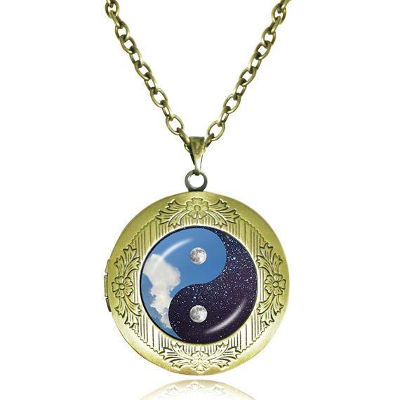 Инь Ян ожерелье медальон ювелирных изделий День Инь Ян ювелирные изделия Луна и Звезды Синий Белый Духовной Кулон Йога Рейки подарок