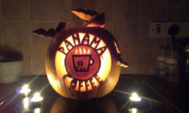 Panama coffee carved pumpkin