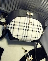 Grid Pattern Satchel Bag with Dangling Reindeer
