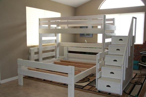 Make the most of your space with this tall loft twin bunk bed and queen bed set featuring a staircase and drawers, which serve as a dresser!