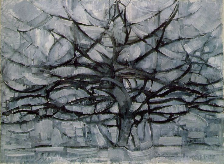[p.#192] Piet Mondrian (Dutch, 1972-1944). The Grey Tree, 1911. Oil on canvas; 109.1 x 79.7 cm. Netherlands: Haags Gemeentemusem, Found by: Victoria