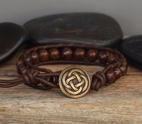 Mens Beaded Leather Bracelet Bronzite on Dark Brown by PJsPrettys