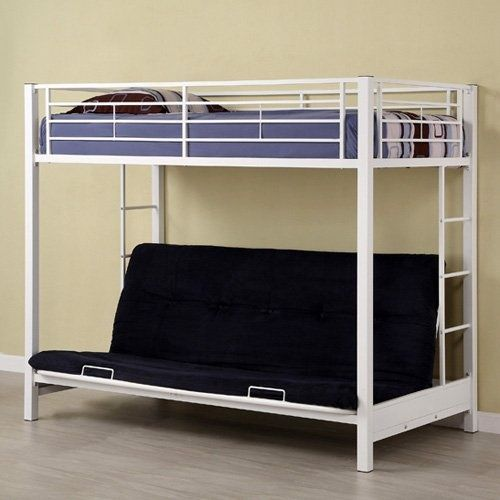 Find it at the Foundary - Sunrise Twin over Futon Bunk Bed - White $334. Twin-size loft bed with a futon White powder-coated steel frame Futon converts to a full-size sleeper Built-in ladder and safety rails Mattresses and bedding are not included Recommended for children 6 years old and up Dimensions: 79L x 42W x 68H inches Final Sale item - not eligible for return mbutterworth
