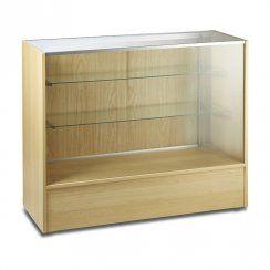 Glass display wood shop counter