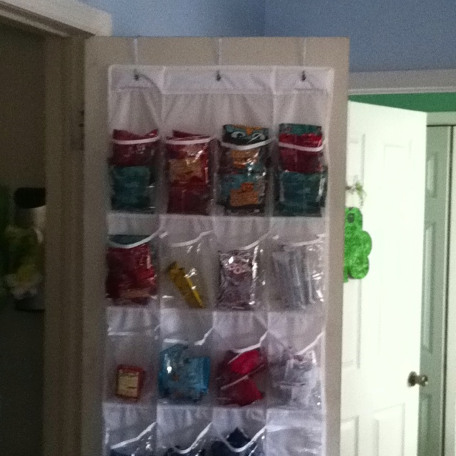 24 Pocket Over The Door Shoe Organizeru003d Snack Holder! No More Cabinet  Filled With