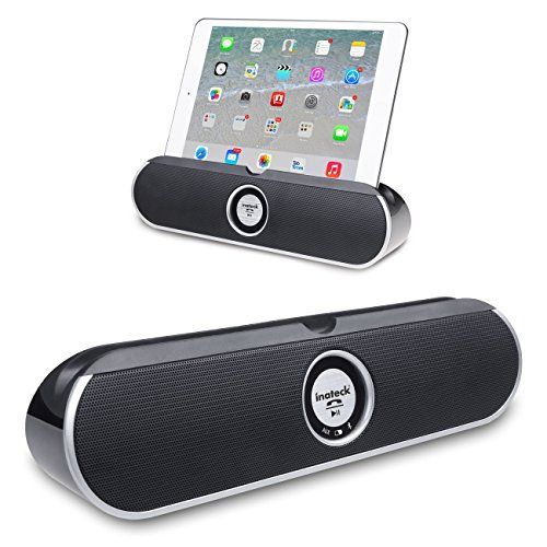 Inateck Dual-Driver Portable Wireless Bluetooth Speaker with 3.5mm AUX Port, Enhanced Bass Boost, Rechargeable Battery, Viewing Cradle for Tablets And Smartphones (BP2001- Black) Inateck http://www.amazon.com/dp/B00JO6GQLS/ref=cm_sw_r_pi_dp_u.Itwb1JPH7N1
