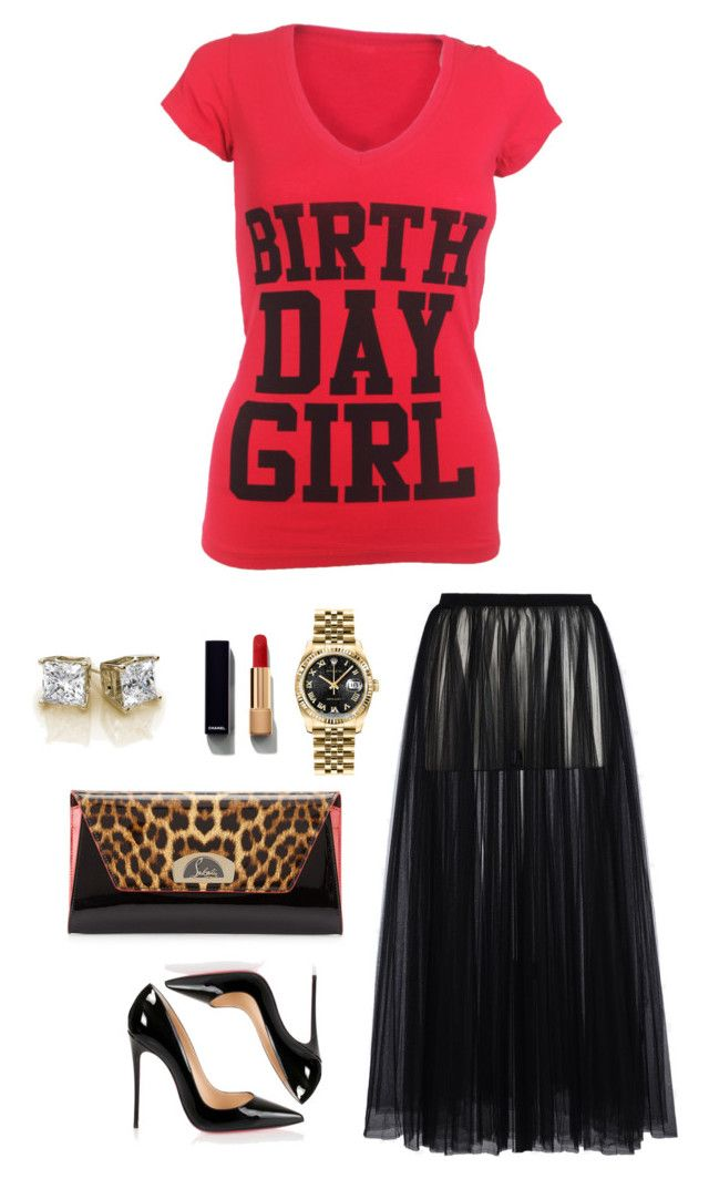 Birthday Dinner by birthdaygirlworld on Polyvore featuring Valentino,  Christian Louboutin, Rolex and Chanel