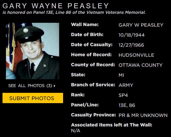 Gary W Peasley Hudsonville Mich With Images Vietnam Veterans Memorial Vietnam Veterans Vietnam Memorial Wall