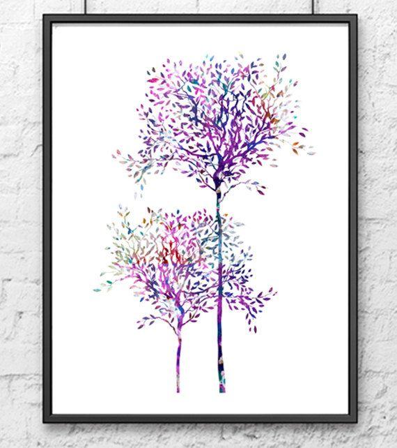 Tree watercolor art print - tree wall art - tree home decor - watercolor painting
