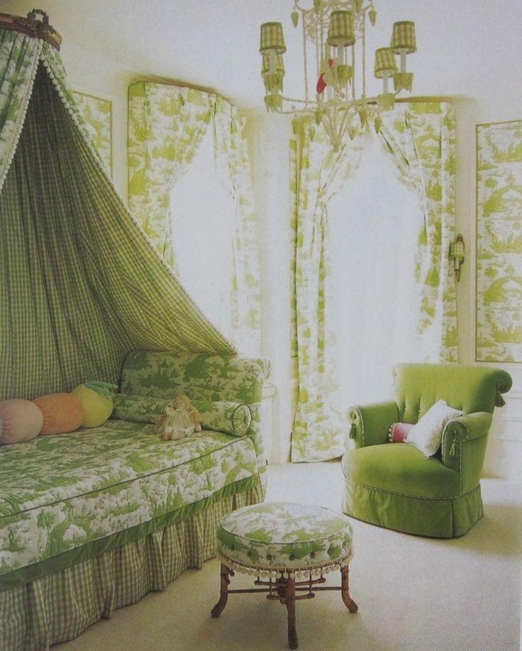 54 best gingham ticking toile images on pinterest for Green bedroom wallpaper