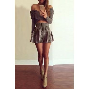 Cheap Fashion Sexy V Neck Long Sleeves Houndstooth Print Polyester Two-piece A Line Mini Dress