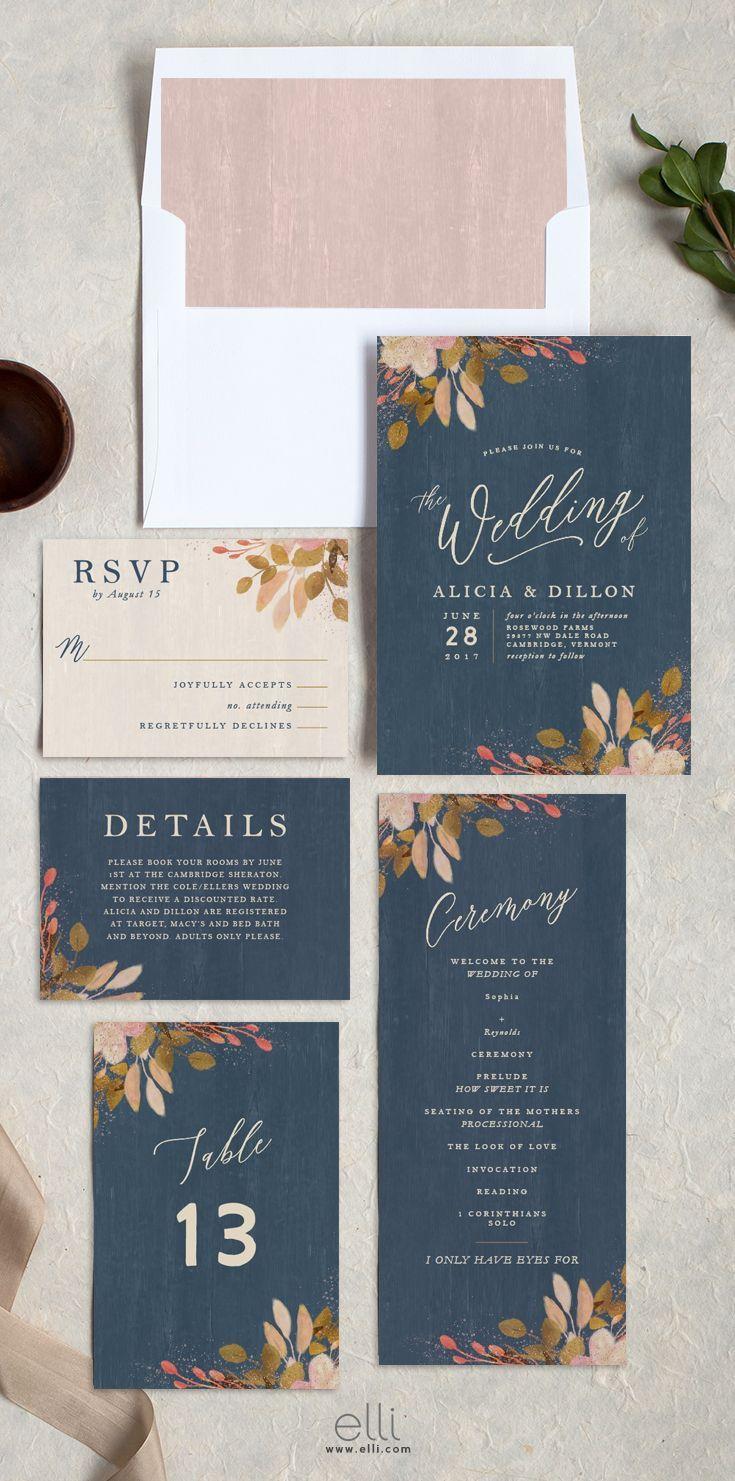 Rustic Leaves wedding invitation suite in blue
