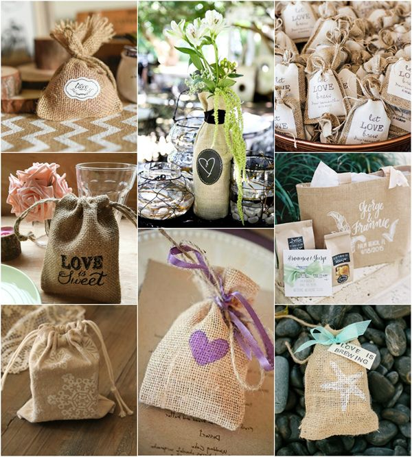rustic linen wedding favors bags with elegant