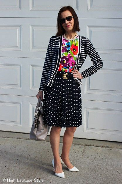 Image Result For Floral Polka Skirt With Striped Top  Print Mixing In  Pinterest Style Dresses And Fashion