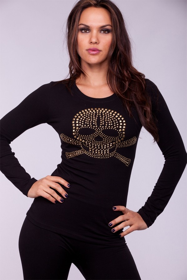BLACK GOLD CREW NECK LONG SLEEVES STUDDED SKULL TOP $17.99 (a favourite gothic punk clothes repin of VIP Fashion Australia )