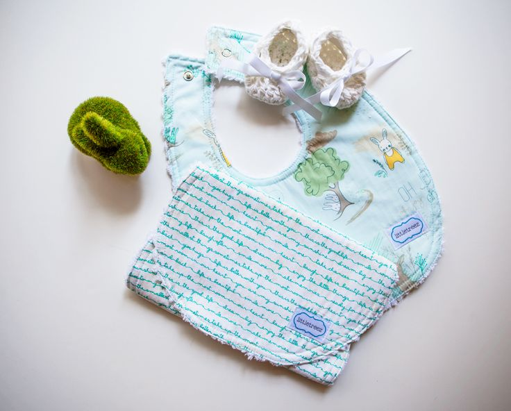 Bib & Burp cloth set with crocheted booties