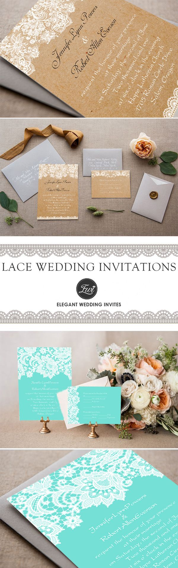 chic rustic elegance custom lace wedding invitations