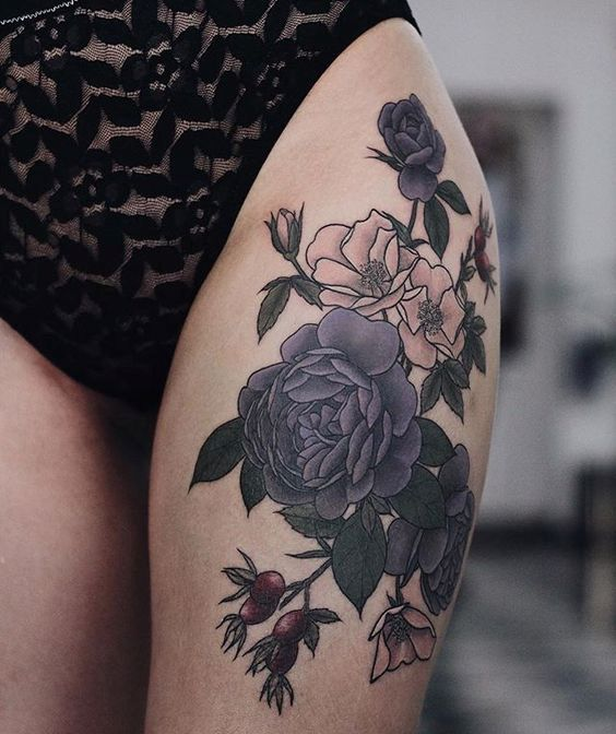 Picture Of moody dark flower thigh tattoo