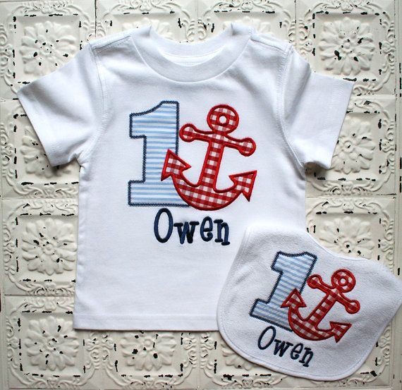 Boys or Girls Anchor Birthday Applique SHIRT and by bebeboutiques, $44.00