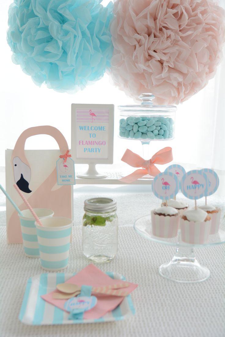 flamingo party table set