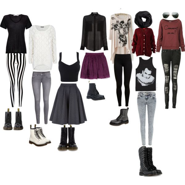 """grunge outfit with spiked elements"" by rinaki-giounes on Polyvore"