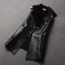 kadın sıcak yelek giyim kış bayan moda ince zarif pu deri kürk yaka ceket artı boyutu 4XL(China (Mainland))