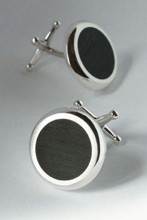Ébenfa és ezüst mandzsettagomb. Silver and ebony cufflinks