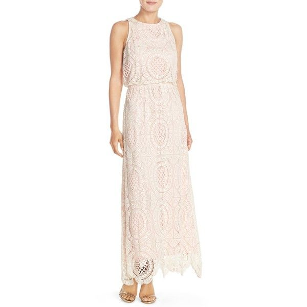 Eliza J Lace Blouson Maxi Dress ($148) ❤ liked on Polyvore featuring dresses, beige, petite, pink sleeveless dress, beige maxi dress, sleeveless maxi dress, blouson dress and eliza j dresses
