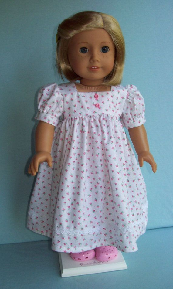 American Girl doll or 18 inch doll gown. Floor length Rosebud gown with crochet lace trim.