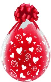 "18"" SWIRLING HEARTS-A-RND LATEX Balloon 25CT"