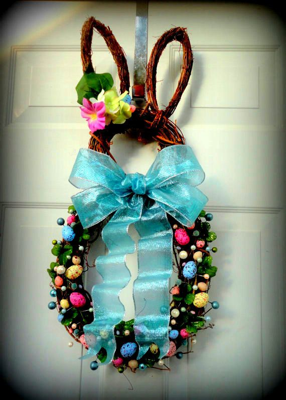 ONE MORE!!! - LIMITED Availability - Easter Bunny Wreath - Spring Wreath - Summer Wreath - Easter Door Decoration on Etsy, $74.00