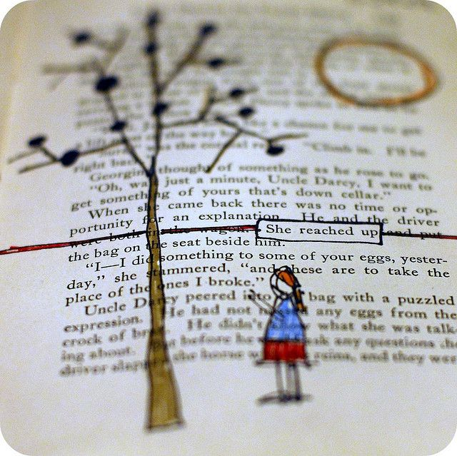 "love the illustration drawn on the page to match a snippet of text (""she reached up"" by tonya doughty, via flickr)"