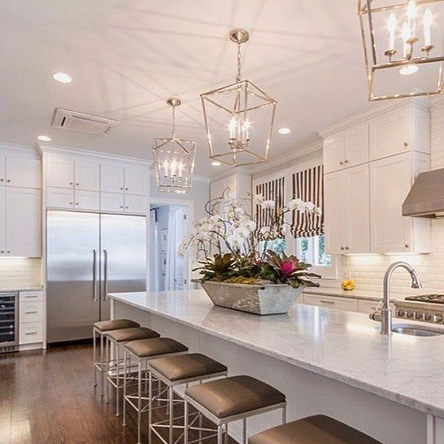 This Is A Huge Kitchen And They Have The Necessary Lighting To Show Its Beauty Pendants Pot Lights And Under C Under Cabinet Lighting Huge Kitchen Pot Lights