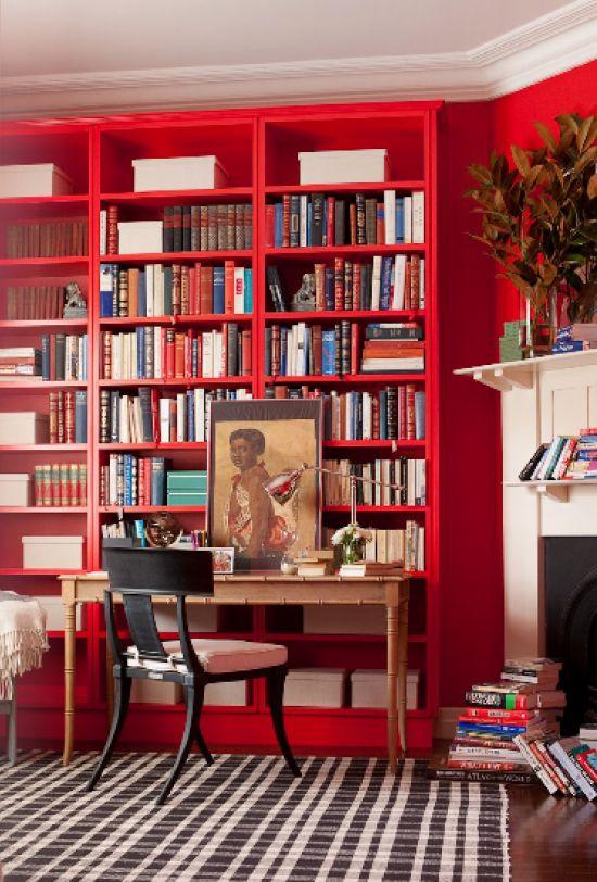 red bookshelves // #library #tartan