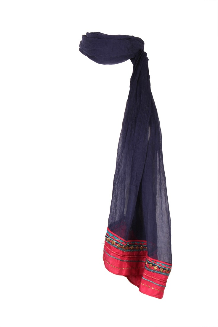 Skipper Blue Solid Dupatta In Viscose Chiffon With Contrast Colour Blocking Along With Embroidery On The Edges; Non Crinkled And 2.25M In Length #Wishful #Fashion #Style #Colors #Drapes #W for #Woman
