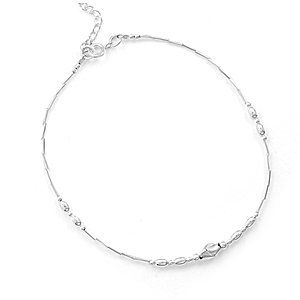 Sterling Silver 9 + 1 Inch Extension Liquid Silver and Oxidized Bead Anklet West Coast Jewelry. $25.95. Save 50% Off!
