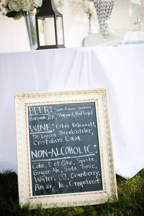 Chalk Bar Sign At A Wedding
