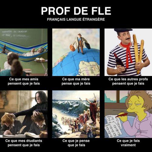 Le prof de FLE (français langue étrangère) enseigne le français à un public non francophone, en France ou à l'étranger.