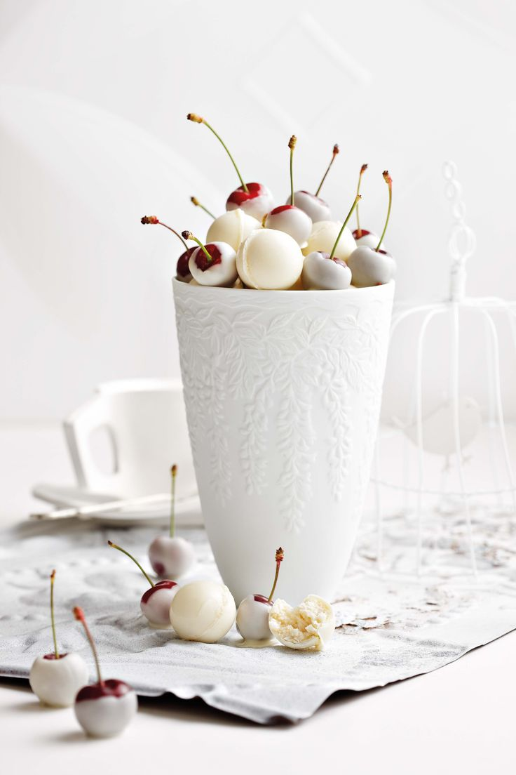not in English but can guess what these are. White chocolate dipped Cherries  Thought I would get ideas from this picture